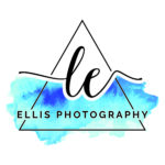 L.E. Ellis Photography logo in triangle with splash of water colors
