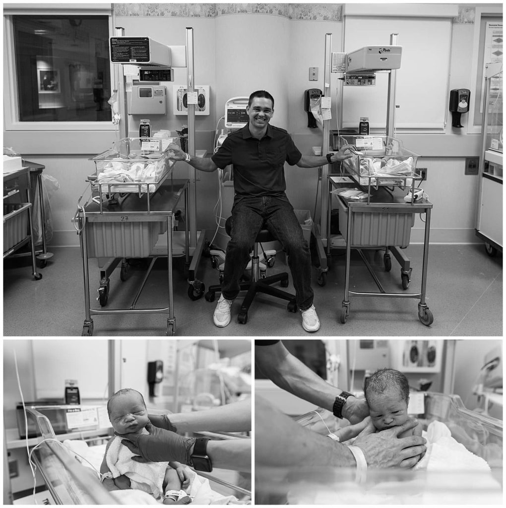 Twin-Birth-pictures-baby-boys-with-dad-sitting-down-holding-onto-the-hospital-bassinetts-Why is birth photography so expensive