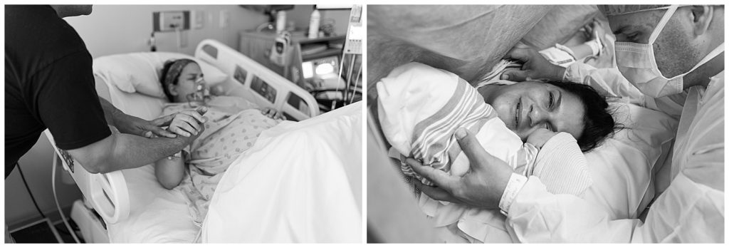 cesarean-section-birth-with-mom-and-dad-looking-at-new-baby-girl-and-dad-holding-moms-had-as-she-labors