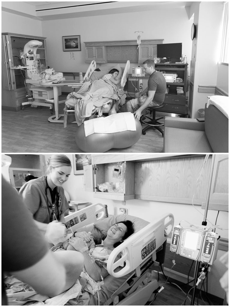 mother laboring and dad sitting beside her